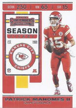 Load image into Gallery viewer, 2019 Panini Contenders Base Veteran Cards #1-100 - Pick Your Cards: #39 Patrick Mahomes II