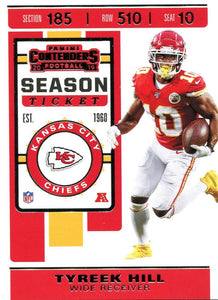 2019 Panini Contenders Base Veteran Cards #1-100 - Pick Your Cards: #40 Tyreek Hill