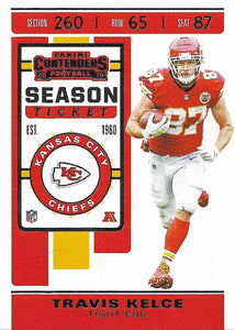 2019 Panini Contenders Base Veteran Cards #1-100 - Pick Your Cards: #41 Travis Kelce
