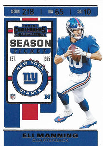2019 Panini Contenders Base Veteran Cards #1-100 - Pick Your Cards: #51 Eli Manning