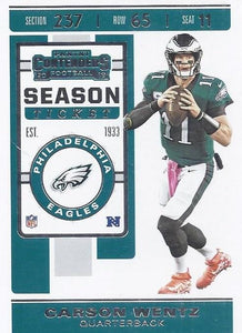 2019 Panini Contenders Base Veteran Cards #1-100 - Pick Your Cards: #57 Carson Wentz