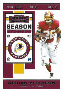 2019 Panini Contenders Base Veteran Cards #1-100 - Pick Your Cards: #60 Adrian Peterson