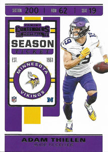 2019 Panini Contenders Base Veteran Cards #1-100 - Pick Your Cards: #65 Adam Thielen