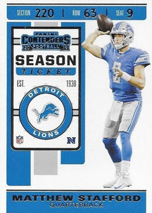 2019 Panini Contenders Base Veteran Cards #1-100 - Pick Your Cards: #72 Matthew Stafford