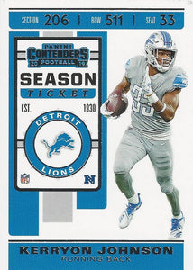 2019 Panini Contenders Base Veteran Cards #1-100 - Pick Your Cards: #73 Kerryon Johnson