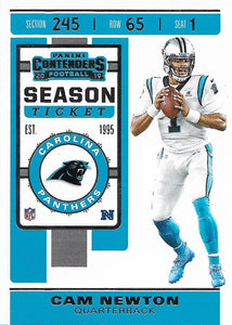 2019 Panini Contenders Base Veteran Cards #1-100 - Pick Your Cards: #75 Cam Newton