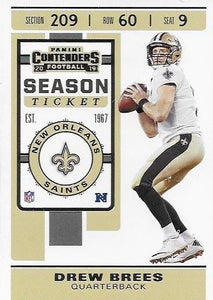 2019 Panini Contenders Base Veteran Cards #1-100 - Pick Your Cards: #78 Drew Brees