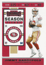 Load image into Gallery viewer, 2019 Panini Contenders Base Veteran Cards #1-100 - Pick Your Cards: #87 Jimmy Garoppolo