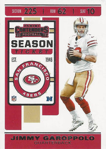 2019 Panini Contenders Base Veteran Cards #1-100 - Pick Your Cards: #87 Jimmy Garoppolo