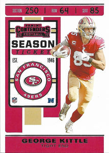 2019 Panini Contenders Base Veteran Cards #1-100 - Pick Your Cards: #89 George Kittle