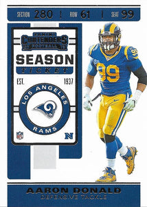 2019 Panini Contenders Base Veteran Cards #1-100 - Pick Your Cards: #98 Aaron Donald