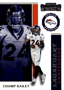 2019 Panini Contenders LEGENDARY CONTENDERS Insert - Pick Your Cards: #LC-CB Champ Bailey  - Denver Broncos