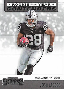 2019 Panini Contenders ROOKIE OF THE YEAR CONTENDERS Insert - Pick Your Cards: #RYA-JJ Josh Jacobs  - Oakland Raiders
