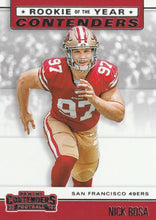 Load image into Gallery viewer, 2019 Panini Contenders ROOKIE OF THE YEAR CONTENDERS Insert - Pick Your Cards: #RYA-NB Nick Bosa  - San Francisco 49ers