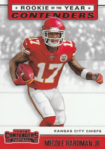 2019 Panini Contenders ROOKIE OF THE YEAR CONTENDERS Insert - Pick Your Cards: #RYA-MH Mecole Hardman Jr.  - Kansas City Chiefs