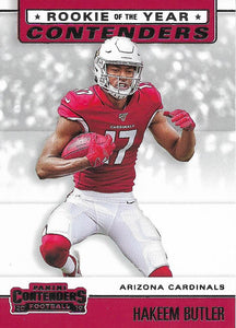 2019 Panini Contenders ROOKIE OF THE YEAR CONTENDERS Insert - Pick Your Cards: #RYA-HB Hakeem Butler  - Arizona Cardinals