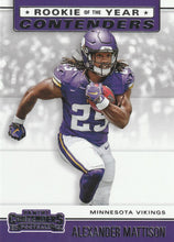 Load image into Gallery viewer, 2019 Panini Contenders ROOKIE OF THE YEAR CONTENDERS Insert - Pick Your Cards: #RYA-AM Alexander Mattison  - Minnesota Vikings