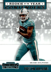 2019 Panini Contenders ROOKIE OF THE YEAR CONTENDERS Insert - Pick Your Cards: #RYA-PW Preston Williams  - Miami Dolphins