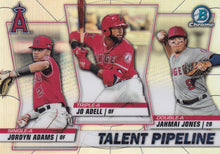 Load image into Gallery viewer, 2020 Bowman - Talent Pipeline Trios Chrome Refractor Insert: #TP-LAA Jo Adell / Jahmai Jones / Jordyn Adams