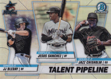 Load image into Gallery viewer, 2020 Bowman - Talent Pipeline Trios Chrome Refractor Insert: #TP-MIA Jazz Chisholm / Jesus Sanchez / JJ Bleday