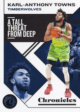 Load image into Gallery viewer, 2019-20 Panini Chronicles Basketball Cards #1-100: #17 Karl-Anthony Towns  - Minnesota Timberwolves
