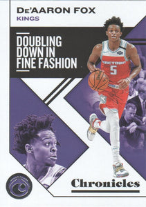 2019-20 Panini Chronicles Basketball Cards #1-100: #29 De'Aaron Fox  - Sacramento Kings