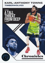 Load image into Gallery viewer, 2019-20 Panini Chronicles Basketball Cards TEAL Parallels: #17 Karl-Anthony Towns  - Minnesota Timberwolves