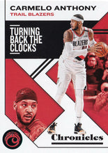 Load image into Gallery viewer, 2019-20 Panini Chronicles Basketball Cards TEAL Parallels: #35 Carmelo Anthony  - Portland Trail Blazers