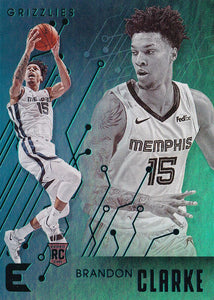 2019-20 Panini Chronicles Basketball Cards TEAL Parallels: #201 Brandon Clarke RC - Memphis Grizzlies