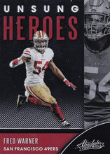 Load image into Gallery viewer, 2020 Panini Absolute NFL Football UNSUNG HEROES Inserts ~ Pick Your Cards