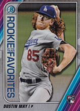 Load image into Gallery viewer, 2020 Bowman - Rookie of the Year Favorites Chrome Refractor Insert: #ROYF-DM Dustin May