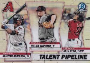 2020 Bowman - Talent Pipeline Trios Chrome Refractor Insert: #TP-ARI Kristian Robinson / Taylor Widener / Seth Beer
