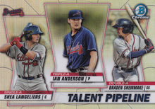 Load image into Gallery viewer, 2020 Bowman - Talent Pipeline Trios Chrome Refractor Insert: #TP-ATL Ian Anderson / Braden Shewmake / Shea Langeliers