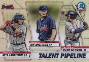 2020 Bowman - Talent Pipeline Trios Chrome Refractor Insert: #TP-ATL Ian Anderson / Braden Shewmake / Shea Langeliers