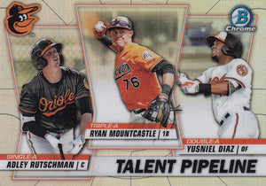 2020 Bowman - Talent Pipeline Trios Chrome Refractor Insert: #TP-BAL Ryan Mountcastle / Yusniel Diaz / Adley Rutschman