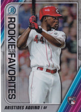 Load image into Gallery viewer, 2020 Bowman - Rookie of the Year Favorites Chrome Refractor Insert: #ROYF-AAQ Aristides Aquino