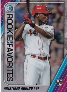 2020 Bowman - Rookie of the Year Favorites Chrome Refractor Insert: #ROYF-AAQ Aristides Aquino