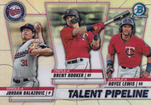 Load image into Gallery viewer, 2020 Bowman - Talent Pipeline Trios Chrome Refractor Insert: #TP-MIN Brent Rooker / Royce Lewis / Jordan Balazovic