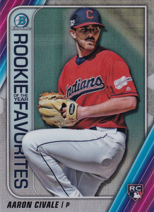 2020 Bowman - Rookie of the Year Favorites Chrome Refractor Insert: #ROYF-AC Aaron Civale
