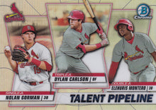 Load image into Gallery viewer, 2020 Bowman - Talent Pipeline Trios Chrome Refractor Insert: #TP-STL Dylan Carlson / Elehuris Montero / Nolan Gorman