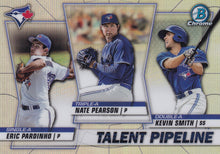 Load image into Gallery viewer, 2020 Bowman - Talent Pipeline Trios Chrome Refractor Insert: #TP-TOR Kevin Smith / Nate Pearson / Eric Pardinho