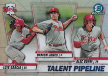 Load image into Gallery viewer, 2020 Bowman - Talent Pipeline Trios Chrome Refractor Insert: #TP-PHI Damon Jones / Alec Bohm / Luis Garcia