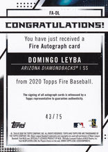 Load image into Gallery viewer, DOMINGO LEYBA 2020 Topps Fire Baseball GREEN AUTO RC 43/75