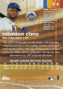 ROBINSON CANO 2020 Topps Stadium Club BLACK & WHITE Parallel ~ Mets