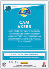 Load image into Gallery viewer, CAM AKERS 2020 Donruss NFL OPTIC PREVIEW BLUE RC 103/125 #P-325