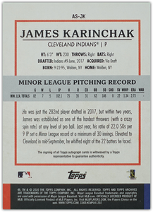 JAMES KARINCHAK 2020 Topps Archives Snapshots Baseball AUTO RC ~ Indians
