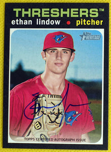 Ethan Lindow AUTO 2020 Topps Heritage Minor League ~ Clearwater Threshers