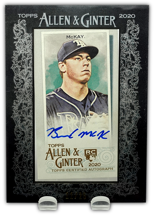 BRENDAN McKAY 2020 Allen & Ginter Black Framed Mini AUTO RC #/25 ~ Rays