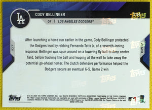 CODY BELLINGER 2020 Topps Now #384 /10 ~ Robs Tatis Jr of Go-Ahead HR NLDS 2020