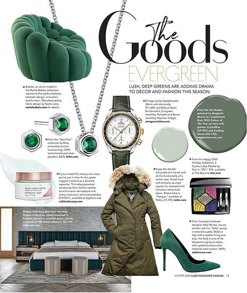 Green with envy!  Abel Muñoz Iconic style Kelly as featured in Luxe Magazine